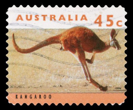 Stamp printed by Australia, shows kangaroo, circa 1994 photo