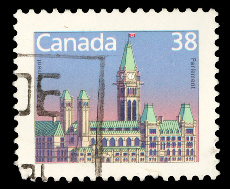 canada stamp: Stamp printed in Canada shows a Parliament  Library  in Ottawa, Ontario, series, circa 1985