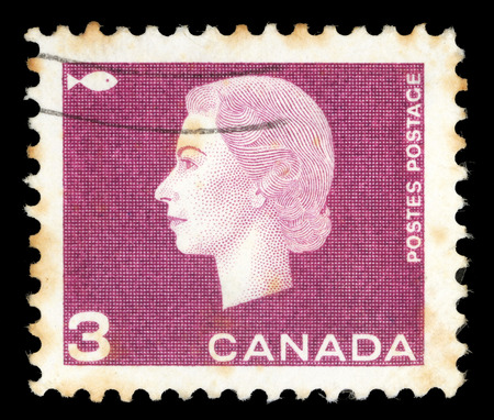 sello: Stamp printed by Canada, shows Queen Elizabeth II, circa 1962