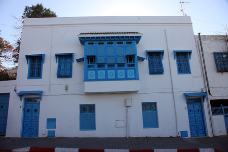 sidi bou said: Sidi Bou Said - typical building with white walls, blue doors and windows