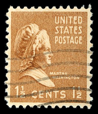 martha: Stamp shows portrait Martha Dandridge Custis Washington  June 2, 1731 - May 22, 1802  was the wife of George Washington, the first president of the United States, circa 1938