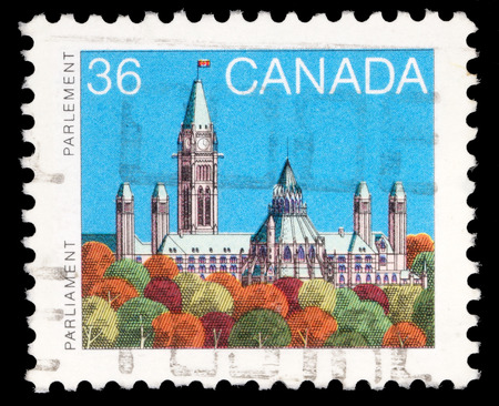 Stamp printed in Canada shows a Parliament  Library  in Ottawa, Ontario, series, circa 1985