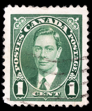 postes: Stamp printed in Canada, shows portrait of King George VI  1895-1952 , circa 1937