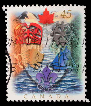 canada stamp: Stamp printed in Canada shows Canadian Heraldry, circa 1996