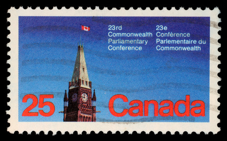 Stamp printed in the Canada shows Peace Tower, Parliament, Ottawa, 23rd Commonwealth Parliamentary Conference, Ottawa, circa 1977