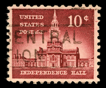 allied: Stamp printed in USA, Allied Nations Issue, shows Independence Hall in Philadelphia, circa 1956