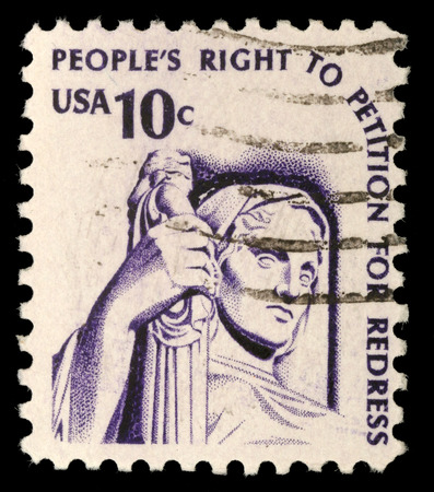 Stamp printed in the USA shows Contemplation of Justice  statue, J  E  Fraser , circa 1975