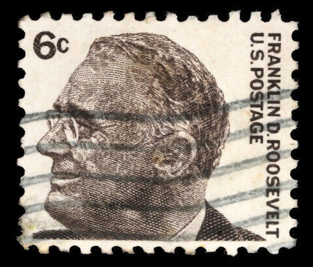 Stamp printed in United states  USA , image of portrait Franklin Roosevelt, with the same inscription, from the series  Famous Americans , circa 1966