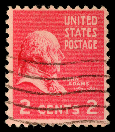 adams: Stamp printed in USA, shows President of the United States, John Adams, circa 1938
