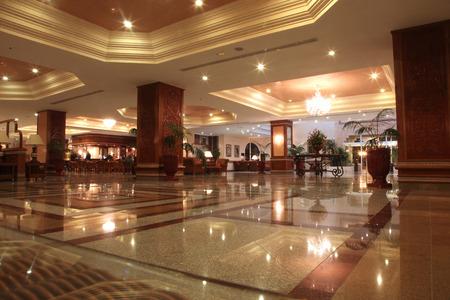 Modern hotel lobby with marble floor