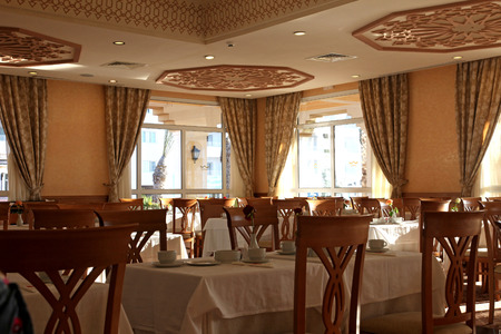 Interior decoration of the restaurant in deluxe hotel  Editorial