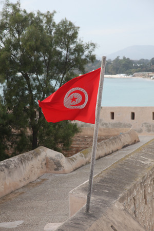 tunisia: Flag of Tunisia Stock Photo