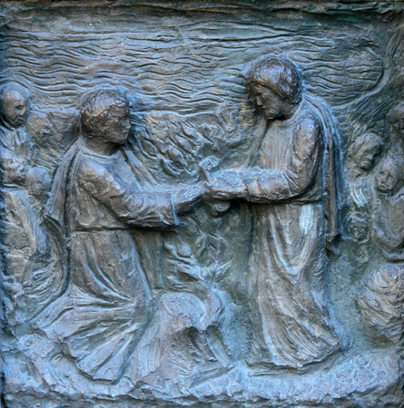 homily: Detail of the door at the church of St Peter at Montmartre, Paris