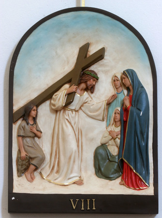 8th Stations of the Cross, Jesus meets the daughters of Jerusalem Standard-Bild