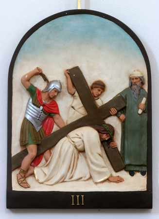 3rd Stations of the Cross, Jesus falls the first time Editorial
