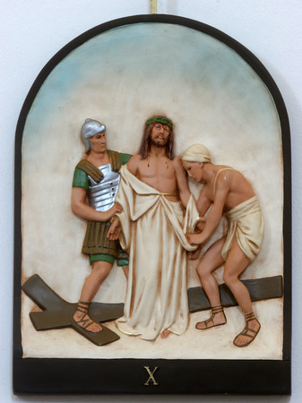 10th Stations of the Cross, Jesus is stripped of His garments Standard-Bild