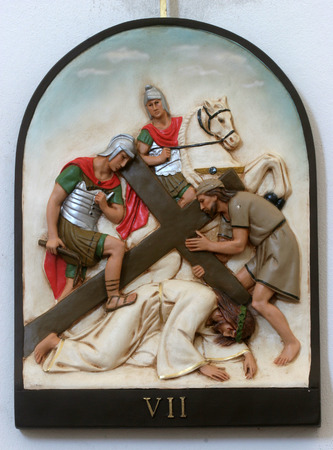 7th Stations of the Cross, Jesus falls the second time Standard-Bild