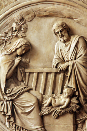 Kerststal, Saint Etienne du Mont Kerk, Parijs Stockfoto