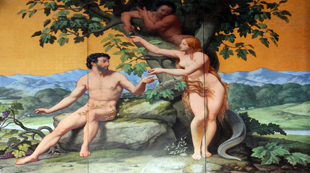 Adam and Eve, painting on the facade, Saint Vincent de Paul church, Paris Editorial