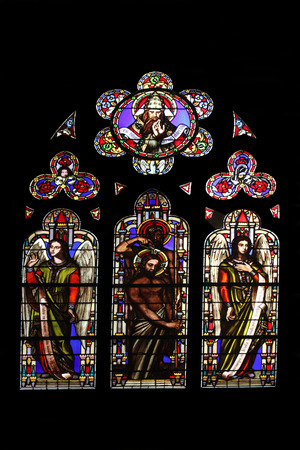Baptism of the Lord, stained glass window from Saint Germain-l Auxerrois church, Paris