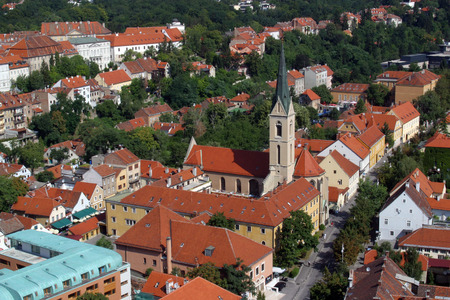 overhand: Aerial view of Zagreb, the capital of Croatia Stock Photo