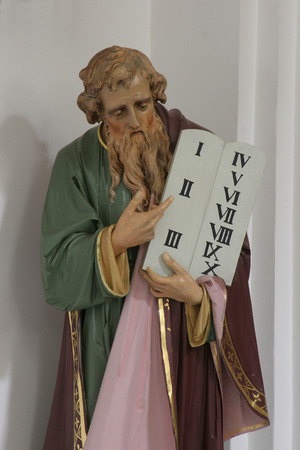 bible ten commandments: Moses holding the Ten Commandments