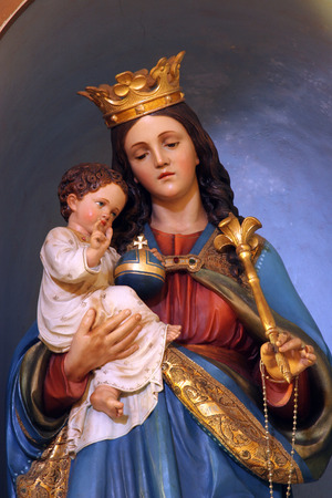 virgin women: Blessed Virgin Mary with baby Jesus Stock Photo
