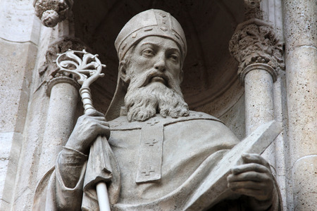 saint stephen cathedral: Statue of Saint Methodius on the portal of the cathedral dedicated to the Assumption of Mary and to kings Saint Stephen and Saint Ladislaus in Zagreb, Croatia