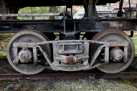 boxcar train: The old railway wheels
