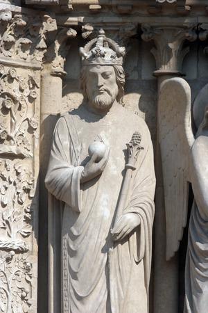 Emperor Constantine, Notre Dame Cathedral, Paris, Portal of the Virgin photo