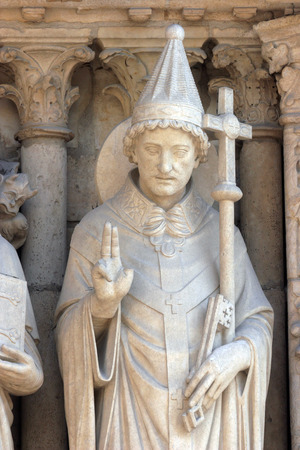 Pope Saint Sylvester, Notre Dame Cathedral, Paris, Portal of the Virgin photo