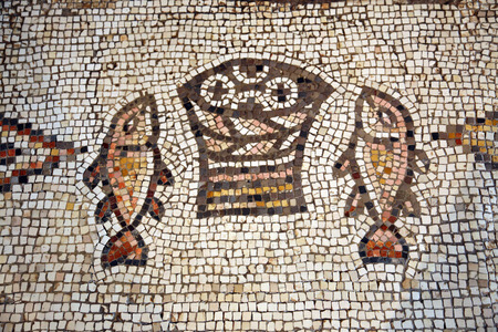Mosaic, The Church of the Multiplication of the Loaves and the Fishes, Tabgha, Israel