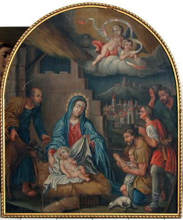 virgen maria: Escena de la Natividad, la Adoraci�n de los Pastores