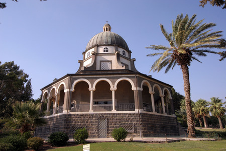 The Church Of The Beatitudes was built on a hill overlooking the Sea of Galilee and is the accepted site where Jesus preached the Sermon on the Mount