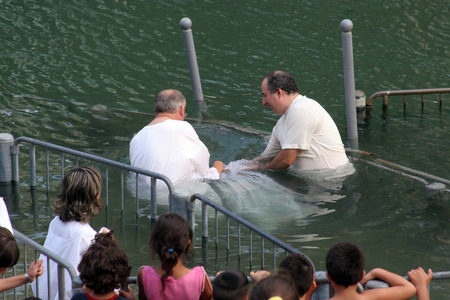 Baptismal site at Jordan river shore  Baptism of pilgrims  in Yardenit, Israel on September 30, 2006