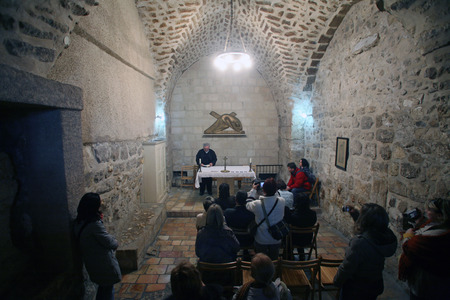 holy land: Via Dolorosa, 7th Stations of the Cross  The pilgrims who visit the Holy Land, pass the path that Jesus carried the cross to Calvary  Jerusalem on January 02, 2008  Editorial