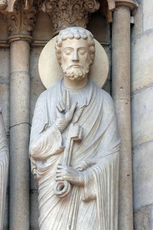 Saint Peter, Notre Dame Cathedral, Paris, Portal of St  Anne photo