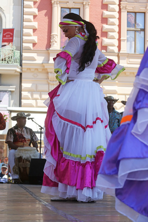historical events: Members of folk groups Colombia Folklore Foundation from Santiago de Cali, Colombia during the 48th International Folklore Festival in center of Zagreb,Croatia on July 16,2014