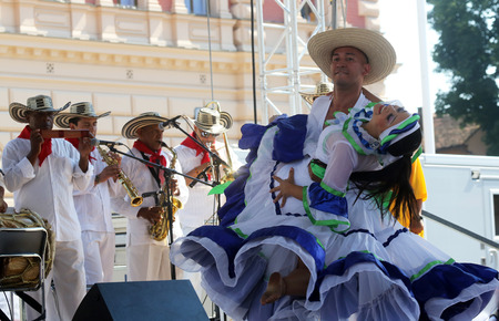 zagreb: Members of folk group Colombia Folklore Foundation from Santiago de Cali, Colombia during the 48th International Folklore Festival in center of Zagreb,Croatia on July 17,2014