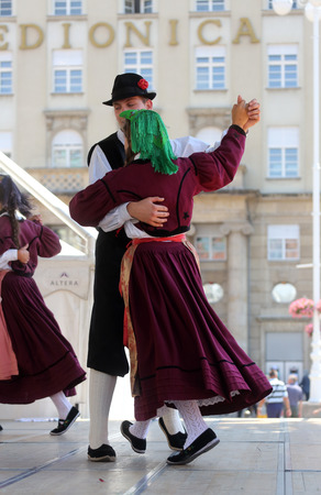 Members of folk group Casamazzagno, Gruppo folklore and Legare from Italy during the 48th International Folklore Festival in center of Zagreb,Croatia on July 18, 2014
