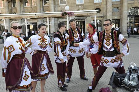 ensemble: Folk group Selkirk, Manitoba, Ukrainian Dance Ensemble Troyanda from Canada during the 48th International Folklore Festival in center of Zagreb, Croatia on July 17, 2014