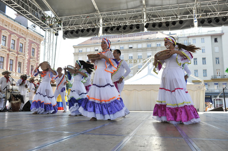 Members of folk group Colombia Folklore Foundation from Santiago de Cali, Colombia during the 48th International Folklore Festival in center of Zagreb,Croatia on July 17,2014