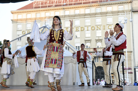 zagreb: Members of folk group Albanian Culture Society Jahi Hasani from Cegrane, Macedonia during the 48th International Folklore Festival in center of Zagreb,Croatia on July 19,2014