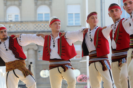 zagreb: Members of folk group Albanian Culture Society Jahi Hasani from Cegrane, Macedonia during the 48th International Folklore Festival in center of Zagreb,Croatia on July 20,2014 Editorial