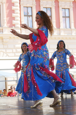 Members of folk groups Egyptian National Folklore Troupe from Egypt during the 48th International Folklore Festival in center of Zagreb,Croatia on July 20, 2014