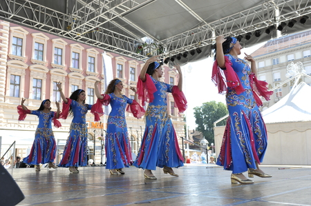 Members of folk groups Egyptian National Folklore Troupe from Egypt during the 48th International Folklore Festival in center of Zagreb,Croatia on July 17, 2014