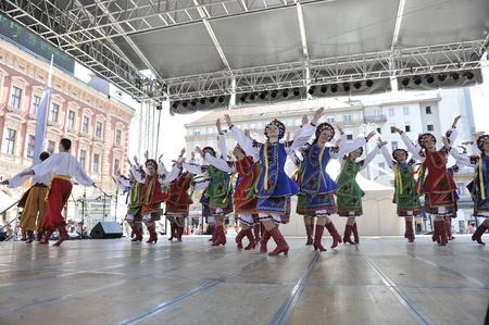 Members of folk group Edmonton  Alberta , Ukrainian dancers Viter from Canada during the 48th International Folklore Festival in center of Zagreb,Croatia on July 17, 2014