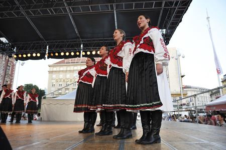 parish: Members of folk group Mississauga, Ontario, Croatian parish folk group Sljeme from Canada during the 48th International Folklore Festival in center of Zagreb, Croatia on July 19, 2014 Editorial