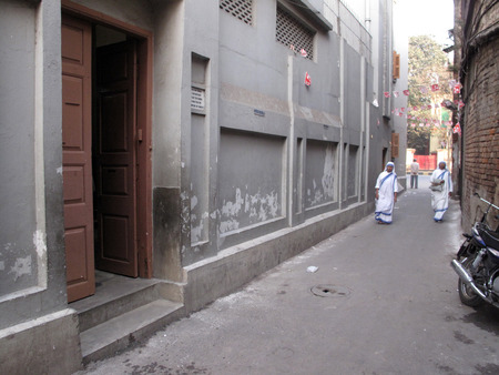 calcutta: Mother House, Missionaries of Charity sisters of Mother Teresa of Calcutta on Jan 27, 2009 in Kolkata, West Bengal, India