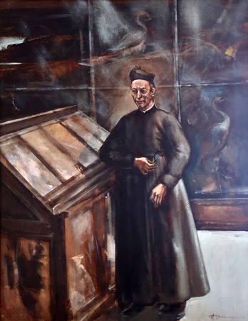 bible altar: Joseph Stadler, Vrhbosnian Archbishop, painting in the Church of Saint Aloysius in Travnik, Bosnia and Herzegovina on June 11, 2014. Editorial